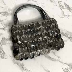 Betsey Johnson Mini Pewter/Silver Coin Leather Bag